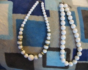 Two Vintage White Plastic Bead Necklaces