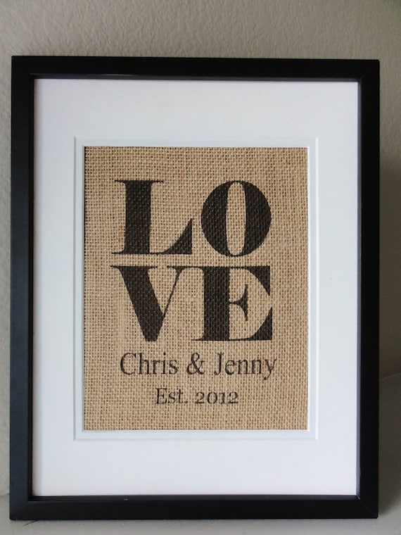 LOVE Burlap Wall ART with Couples Names and EST. Date