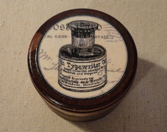 Trinket Box / Powder Box - Typewriter Oil Bottle