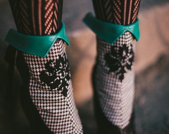 Spats - Teal leather and houndstooth -Aurora-