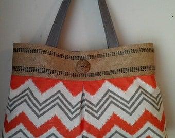 Orange and Grey Chevron Handbag Purse Tote with Jute Webbing