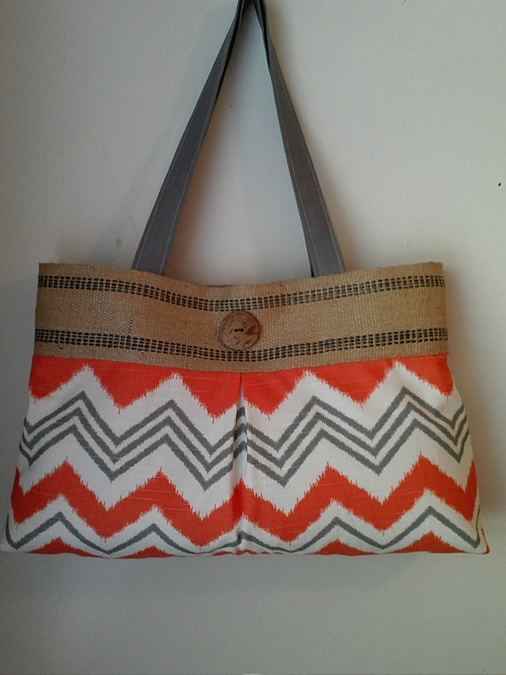 Orange and Grey Chevron Handbag Purse Tote with Jute Webbing