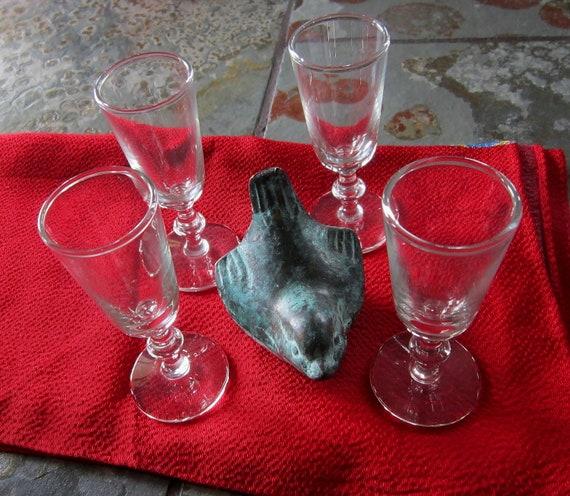 Retro Bar Liquor Aperitif Glasses set of 4 - Dessert Cups Cordial Glasses