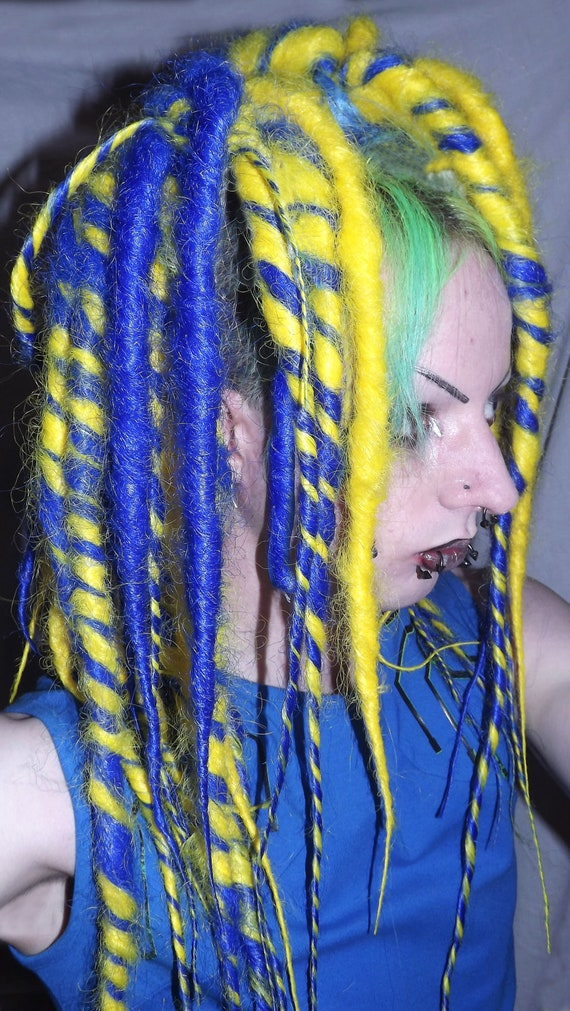 Blue/yellow dread falls. SALE