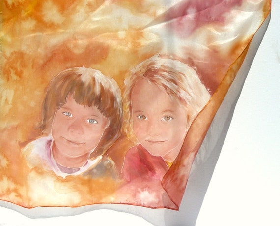 Custom portrait painting on Silk Scarf, Hand painted silk scarf with portrait