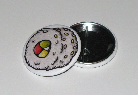 White Sushi Roll 1.5 inch Button