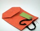 SALE Orange Mulberry paper medium gift bag and tag handmade