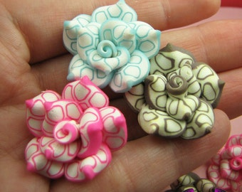 5 pcs Polymer Clay ROSE flatback Cabochons or Beads 26mm