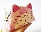Cat purse / Cat zipper purse / Cat coin purse / Hand embroidery / Gift bag / Small bag zippered