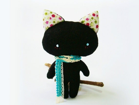Cat doll, black cat doll, mini cat doll, cat plush, handmade doll cat, kitty doll - made to order
