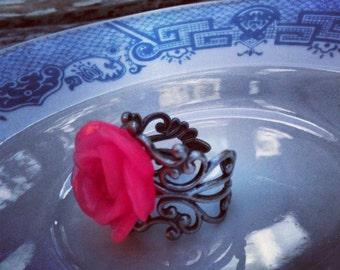 Pink Rose Ring adjustable silver