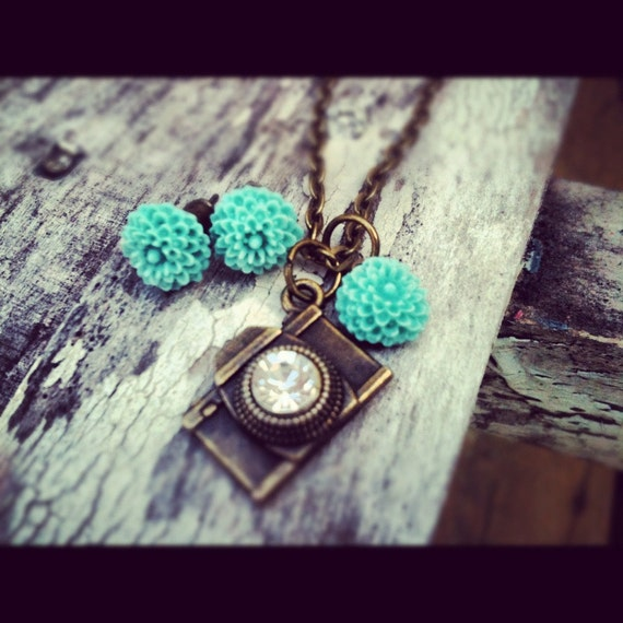 Earrings that Match the camera necklace teal mum earrings