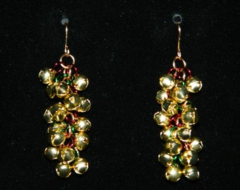 Jingle Bell Shaggy Loops Christmas Chainmaille Earrings