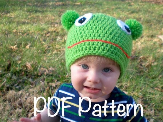 PATTERN:  Ribbit Hat, Easy Crochet PDF frog hat, Sizes Newborn to adult, beanie, kermit, green, InStAnT DoWnLoAd, Permission to Sell