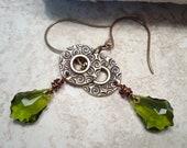 Embossed Metal Earrings Olive Green Crystals