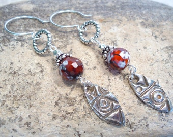 Sterling Fine Silver Tribal Earrings