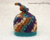 Baby boy hat newborn boy hat knot hat photography prop crochet infant boy photo prop blue knit - MADE TO ORDER