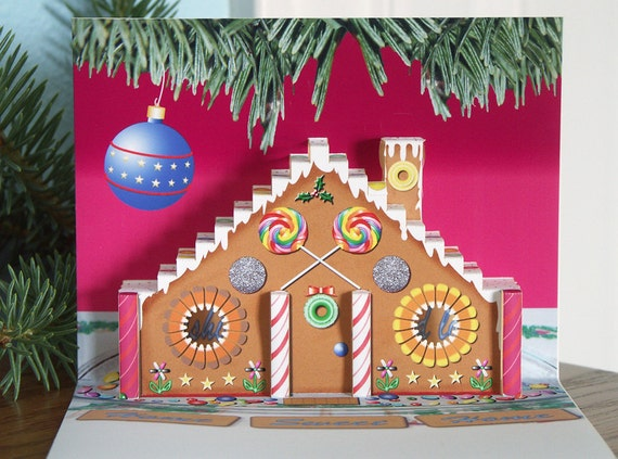 Pop up Gingerbread House card with candy and frosting