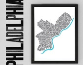 Philadelphia Fontmap - Limited edition typographic map digital print, 297x420mm