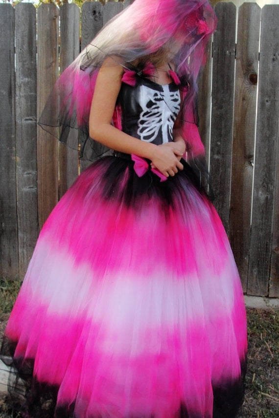 Black hot pink skeleton day of the dead by MySunshinesCloset