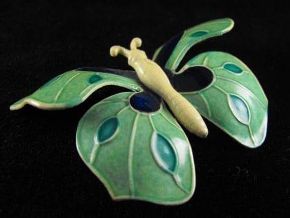 RESERVED Teresa: Vintage Brooch W. Germany Enamelled Butterfly