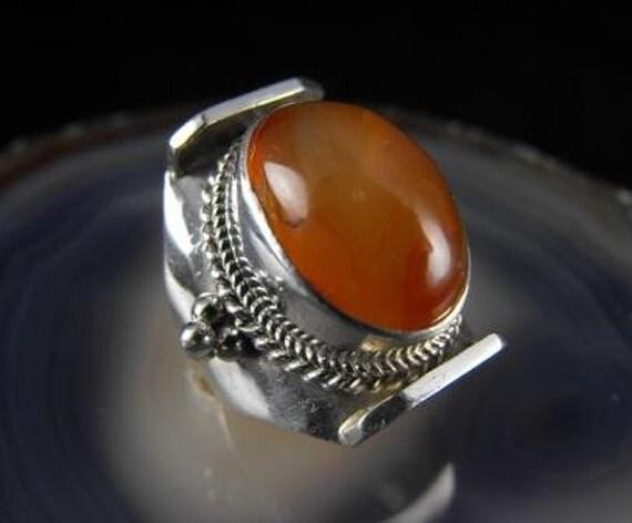 Fabulous BIG Carnelian Ring Sterling Silver Cool Design 45.00 obo