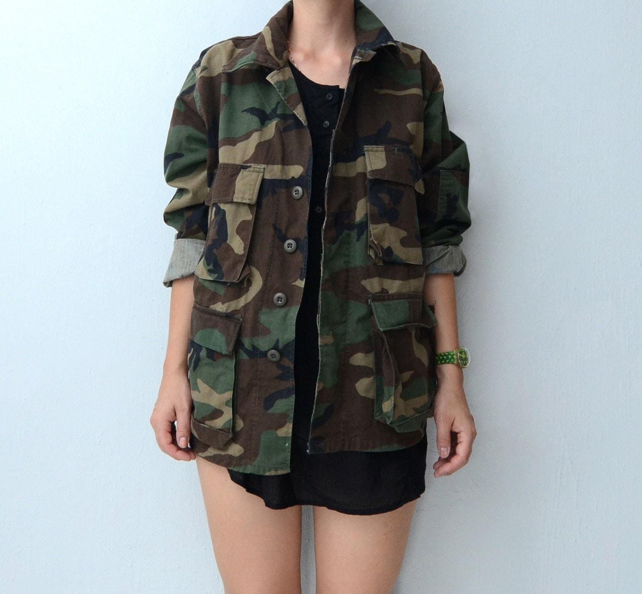 vintage camo military jacket army jacket. Black Bedroom Furniture Sets. Home Design Ideas