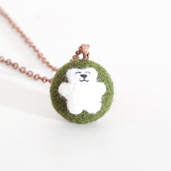 Felted Jewelry, Little Bear, White Bear, Green and White, Necklace Pendant