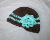 Crochet Baby Hat, Infant Girls Hat, Visor Beanie with Flower 3-6 months