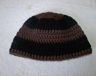Mens Crochet Beanie Skull Black and Brown Striped