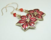 14kt Gold Red poinsettia earrings  Beadtrisslane  READY to SHIP  Holiday jewelry  sensitive skin safe
