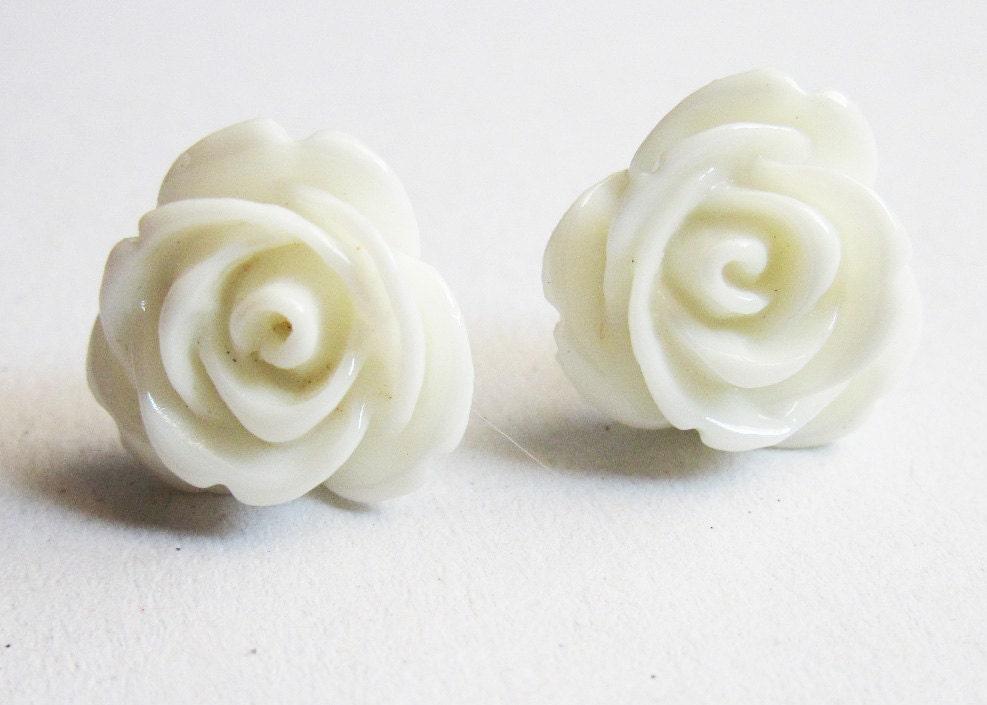 Rose flower rose flower earrings popular items for white rose earrings on etsy mightylinksfo