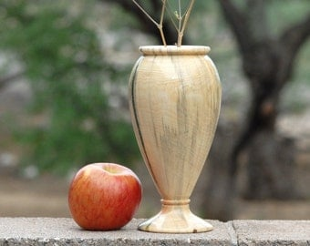 "Flower or Bud Vase of Reclaimed wood 8"" tall & 4 1/4"" diameter"