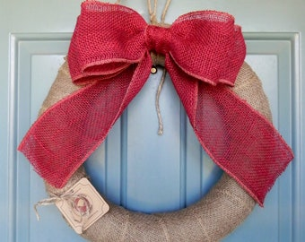 Wrapped Burlap Wreath with Red Bow Christmas Wreath (Other Bow Colors Available)