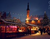 Christmas market in beautiful medieval old town of Tallinn at night, Tallinn, Estonia, Christmas city lights, European Christmas market