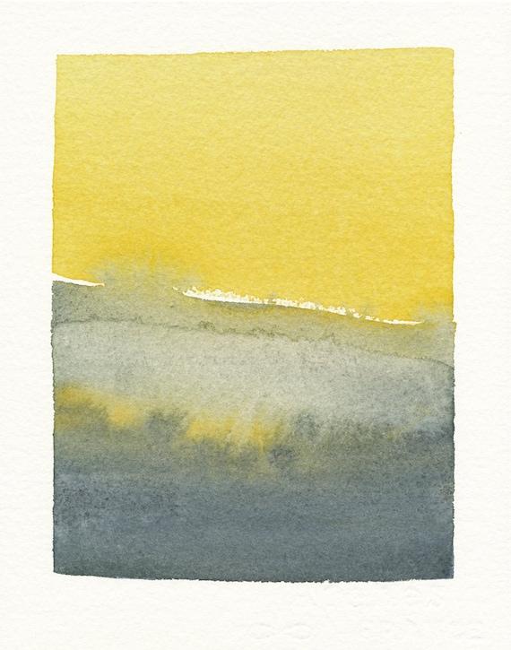 watercolor landscape greys and mustard yellow scene original watercolor painting