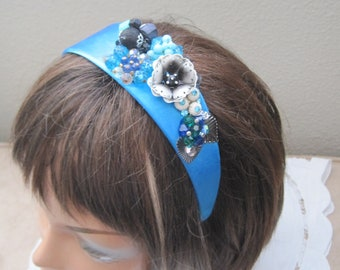 """Handmade Headband, Hand Designed, Hair, Vintage Jewelry, OOAK, Elle Magazine Says Ornate Headbandss Are The Current """"IN"""" Accessory CLEARANCE"""