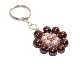 Flower Beaded Keychain in brown and peach, glass pearl bead keychain, silver toned wire wrapped
