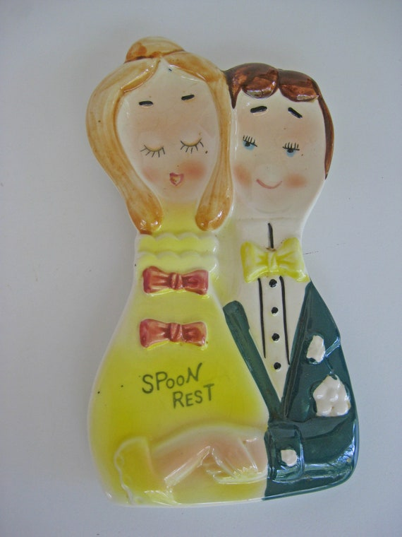 Vintage Happy Couple Ceramic Spoon Rest