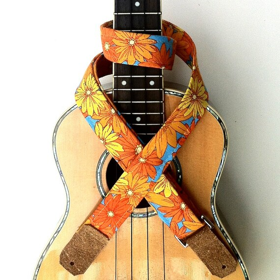 Ukulele Strap in Sunflower Field with Suede Leather Ends