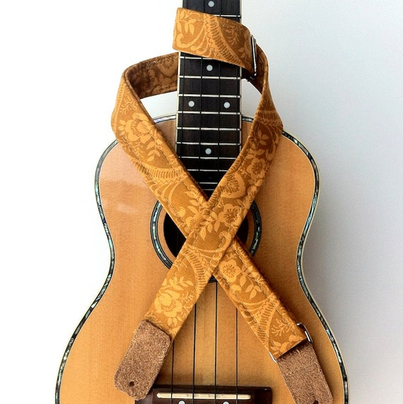 Ukulele Strap with Suede leather ends in Island Gold Print
