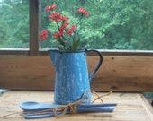 Graniteware Coffeepot, Blue Swirl Enamelware, Blue Coffeepot