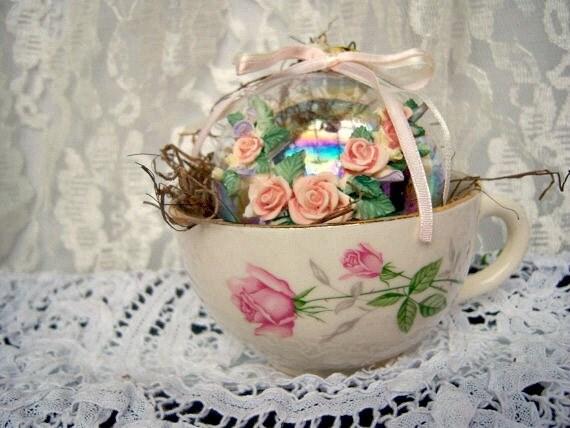 Vintage Easter Gift, Easter Ornament,Handmade Gift Vintage Teacup, Spring Gift