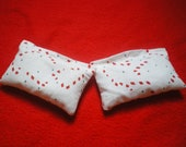 Candy cane on white rice handwarmers - set of two