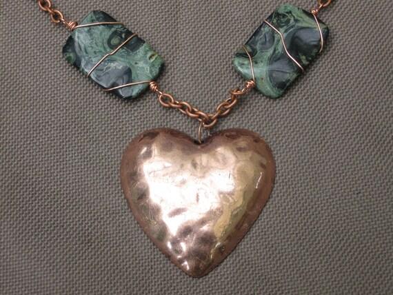 SALE-Necklace-Wire Wrapped Jewelry-Wire Wrapped Necklace-Copper Wire Wrapped Necklace-Wrapped Stone Necklace-Copper Heart Necklace-Copper