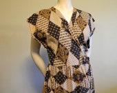 SALE vtg ethnic cotton batik wrap dress . indonesian morrocan patchwork pattern mini . S/M