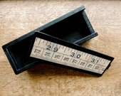 Vintage tape measure pencil case wooden storage box
