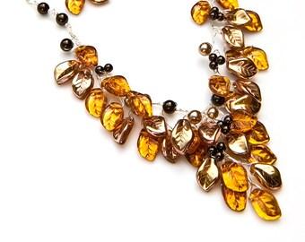 Gold Statement Necklace,  Gold Bib Necklace, Fashion Jewelry, Autumn Jewelry