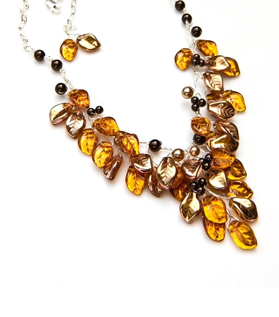 Gold Statement Necklace,  Gold Bib Necklace, Fashion Jewelry, Autumn Jewelry
