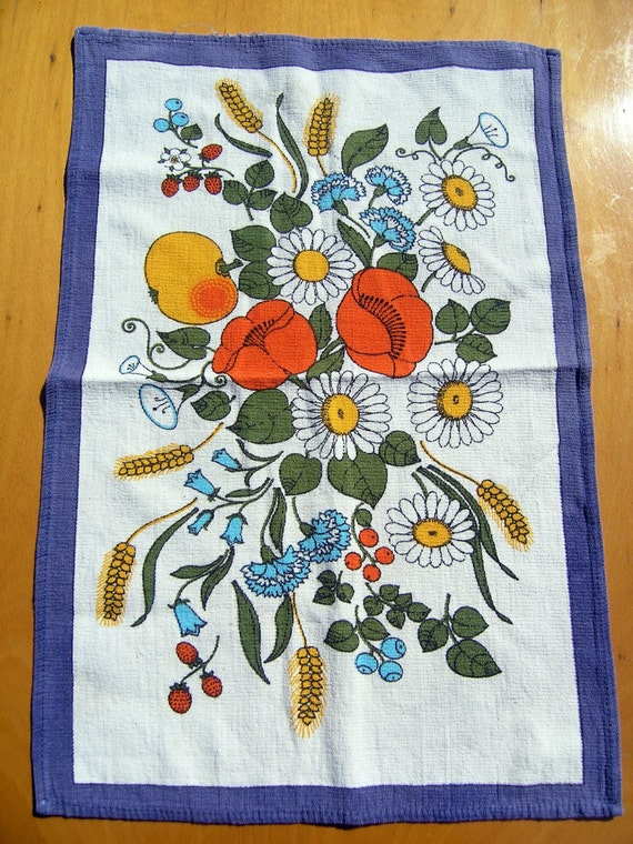 60s 70s Vintage Floral Dish Cloth, Retro Cotton Dishcloth, GDR (former East Germany) brand Malimo